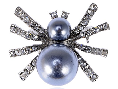 [Alilang Petite Faux Pearl Opaque Clear Crystal Rhinestone Spider Queen Insect Pin Brooch] (Spider Queen Costume For Girls)