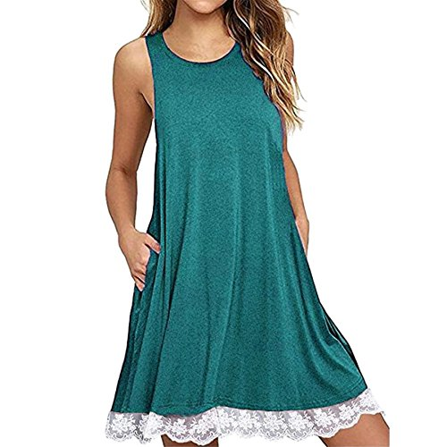 KESEE Women's Lace Sleeveless Pockets Casual Swing T-Shirt Dresses O Neck Loose Above Knee Dress (S, Green) ()