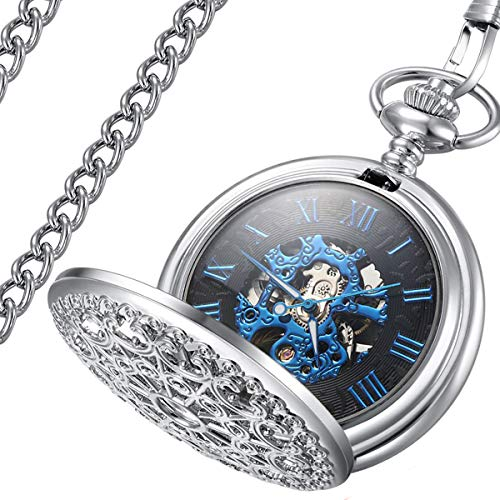 LYMFHCH Steampunk Blue Hands Scale Mechanical Skeleton Pocket Watch (Silver/Blue) -