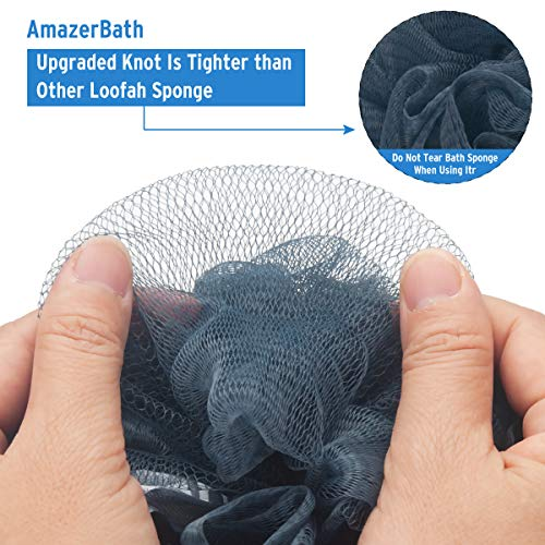AmazerBath Shower Bath Sponge Shower Loofahs Balls 75g/PCS for Body Wash Bathroom Men Women- Set of 4 Grey Blue-Pink-Grey-White Pack