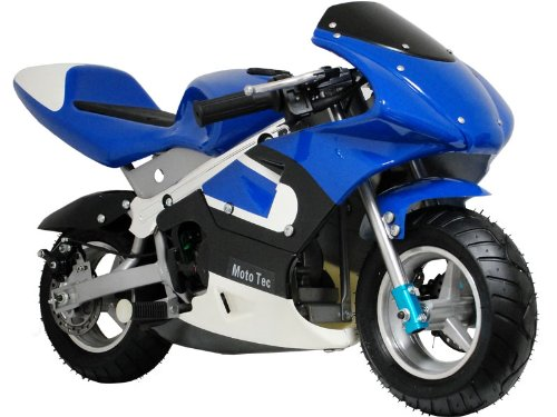 MotoTec Gas Pocket Bike 33Cc 2 Stroke Blue ()