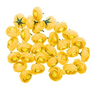 Jili Online Pack of 30pcs Artificial Camellia Flower Craft Silk Heads Wedding Decor 12 Colors - Yellow, 4cm 105