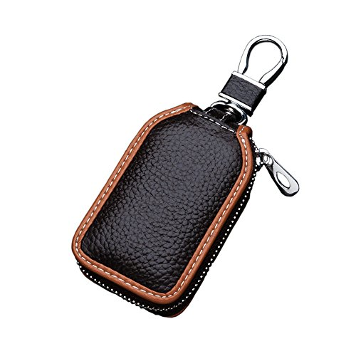 - Car Key case Key Bag Wallet - Superior Genuine Leather Auto Car Key FOB Holder Protector Cover Smart Key Chain with Metal Hook and Zipper Closure Universal (Brown)