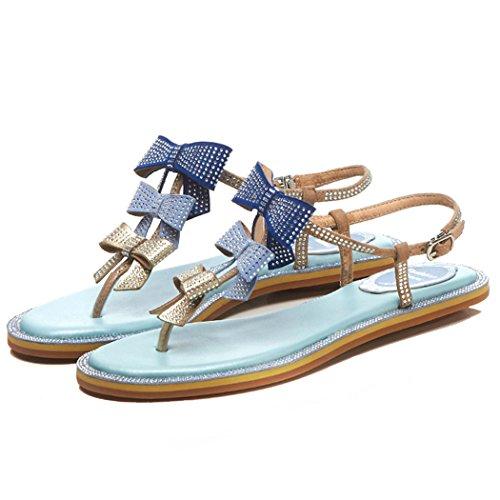 de tiras casuales planas de Sandalias arco de mujer vacaciones GAOLIXIA zapatos Azul sandalias de de para verano la cuero satén Sandalias playa romanas sandalias de BPF7f