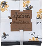 Kay Dee Designs 3-Piece Cotton Flour Sack Towel Set, 26 by 26-Inch, Queen Bee