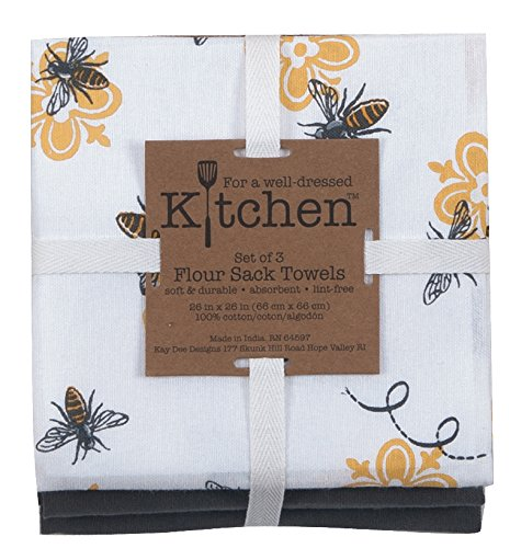 Kay Dee Designs 3-Piece Cotton Flour Sack Towel Set, 26 by 26-Inch, Queen -