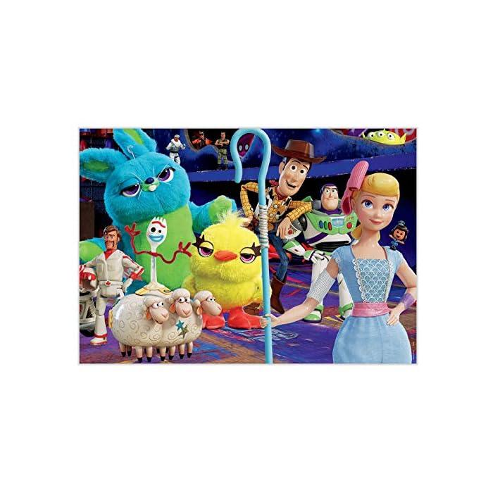 512Q%2BJJuoDL Puzzle de 200 piezas, horas de diversión y entretenimiento; dimensión aproximado del puzzle montado: 40 x 28 cm Puzzles inspirados en Toy Story 4 Compuestos por grandes piezas, óptimo acabadas para que sea sencilla y segura su manipulación por los niños
