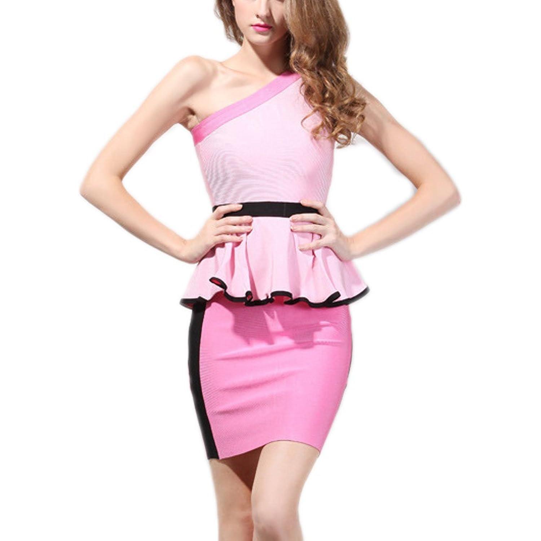 HLBandage One Shoulder Sleeveless Falbala Peplum High Waist Bandage Dress