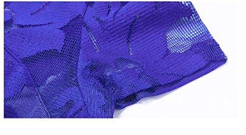 Coolred-femmes Dentelle Contraste Élevé De Taille Manches Courtes Mini Robe Bleu Club