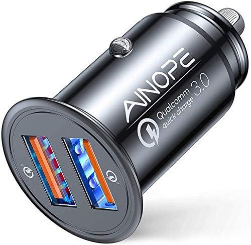 AINOPE Zigarettenanzünder USB Ladegerät, [Dual QC3.0 Port] 36W/6A Auto Ladegerät Mini Metal Legierung KFZ Ladegerät Schnellladung Kompatibel mit iPhone 12/11/XS/XR, Note 9/Galaxy S10/S9/S8, iPad