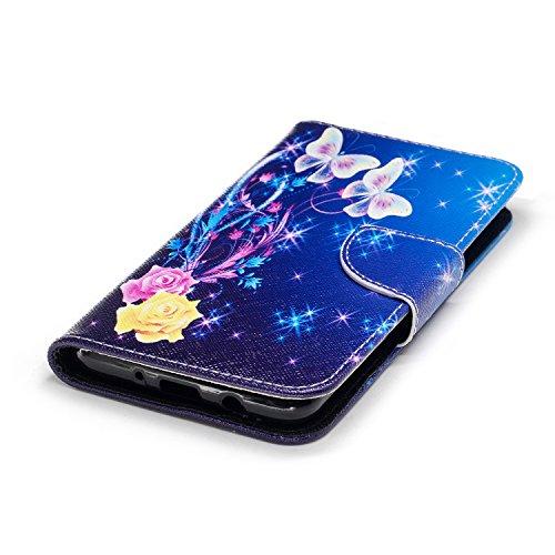 Para Samsung Galaxy J5 (2016) SM-J510F funda, (Mariposa de melocotón) caja del teléfono de la PU patrón en pintado ,Función de Soporte Billetera con Tapa para Tarjetas soporte para teléfono Bailarina de mariposas