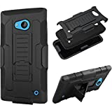 Microsoft (Nokia) Lumia 640 Hybrid Full Body Armor Protective Case [SlickGears Heavy Duty Rubberized Dual Layer Kickstand Belt Clip Carrying Holster Advanced Full Protection Work Case (Black)