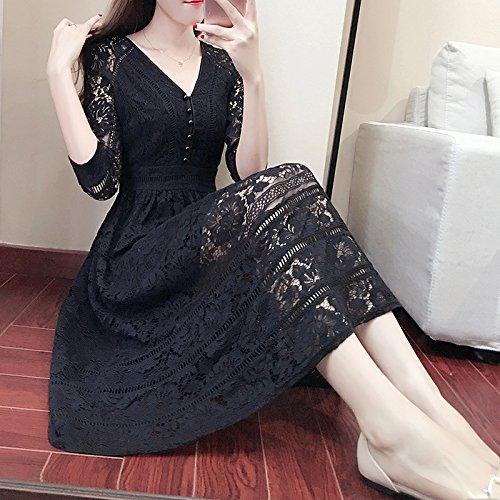 Negro Negro Siete De V Vestidos Primavera S 2Xl Encaje ZHUDJ Falda Vestidos De Minutos Larga pCqaxaO