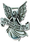 "Never Drive Faster Than Your Guardian Angel Can Fly Pewter Auto Visor Clip 2"" Length"