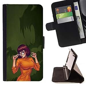 BullDog Case - FOR/Samsung Galaxy Note 3 III / - / sexy orange Halloween character cartoon /- Monedero de cuero de la PU Llevar cubierta de la caja con el ID Credit Card Slots Flip funda de cuer