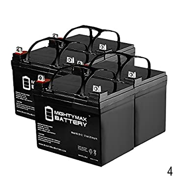 35AH 12V DC DEEP CYCLE SLA SOLAR ENERGY STORAGE BATTERY - 4 Pack - Mighty Max Battery brand product