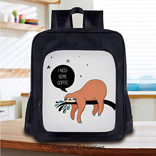 Casual Style Lightweight Backpack Australian Bear Type Lazy Shy Smiling Cute Spirit Animal Sloth Cartoon Image School Bag Travel Daypack,Multicolor