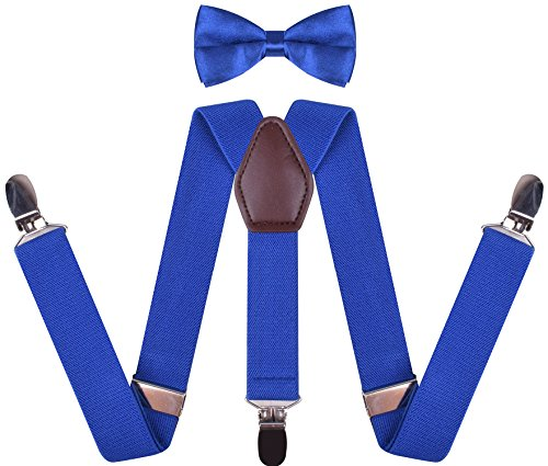 (WDSKY Toddler Boys' Bow Tie and Suspenders Set Y Back Adjustable Royal Blue 22)