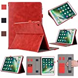 Grand-X New iPad 9.7 inch 2017 Case, Leather Multi-Angle Viewing Smart Stand Folio Cover with Card and Pen/Stylus Holder, Hand Strap, Sleep/Wake Function, Microfiber Lining, Soft Frame - Red