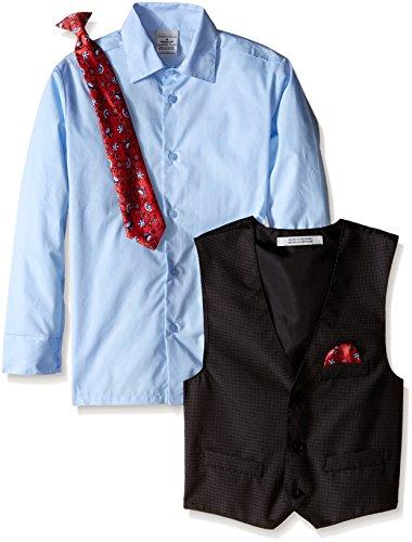 Perry Ellis Big Boys' Fine Pindot Vest Set, Love You Blue, 10 by Perry Ellis (Image #2)