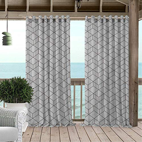 Linhomedecor Patio Waterproof Curtain Geometric Cube White Lattice Multicolor doorways Grommet Free Curtains 84 by 96 inch