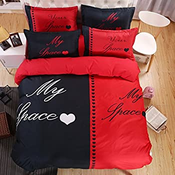 LOVE(TM)his Side Her Side 4pcs Bedding Set Duvet Cover Set Full Size  Comforter Not Included(1 Flat Sheet+1 Duvet Cover +2 Pillowcases)