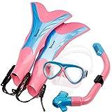 OXA Scuba Diving Snorkel Set including Dry Top Snorkel, 2-Windows Tempered Glass Mask and Trek Fins for Kids (Pink, L/XL)