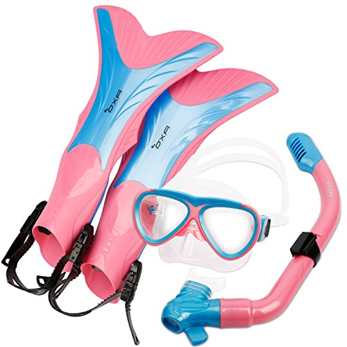 OXA Scuba Diving Snorkel Set including Dry Top Snorkel, 2-Windows Tempered Glass Mask and Trek Fins for Kids (Pink, L/XL)