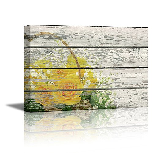 Retro Style Yellow Flower on Vintage Wood Background Rustic ation