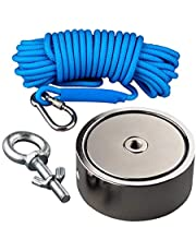 Mutuactor Strong Double Sided Fishing Magnet Combined 1240lbs Magnetic Pull Force, Heavy Duty Neodymium Magnet N52 with 10 Meters Durable Rope, Powerful Strong Magnetic of Retrieving Treasure in Rivers