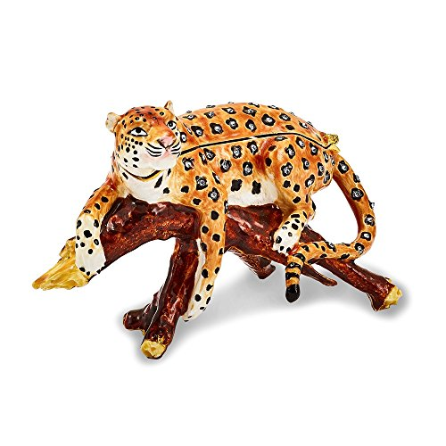 Jere Luxury Giftware Bejeweled Leopold Leopard On Branch, Pewter with Enamel Collectible Trinket Box with Matching Pendant Necklace ()