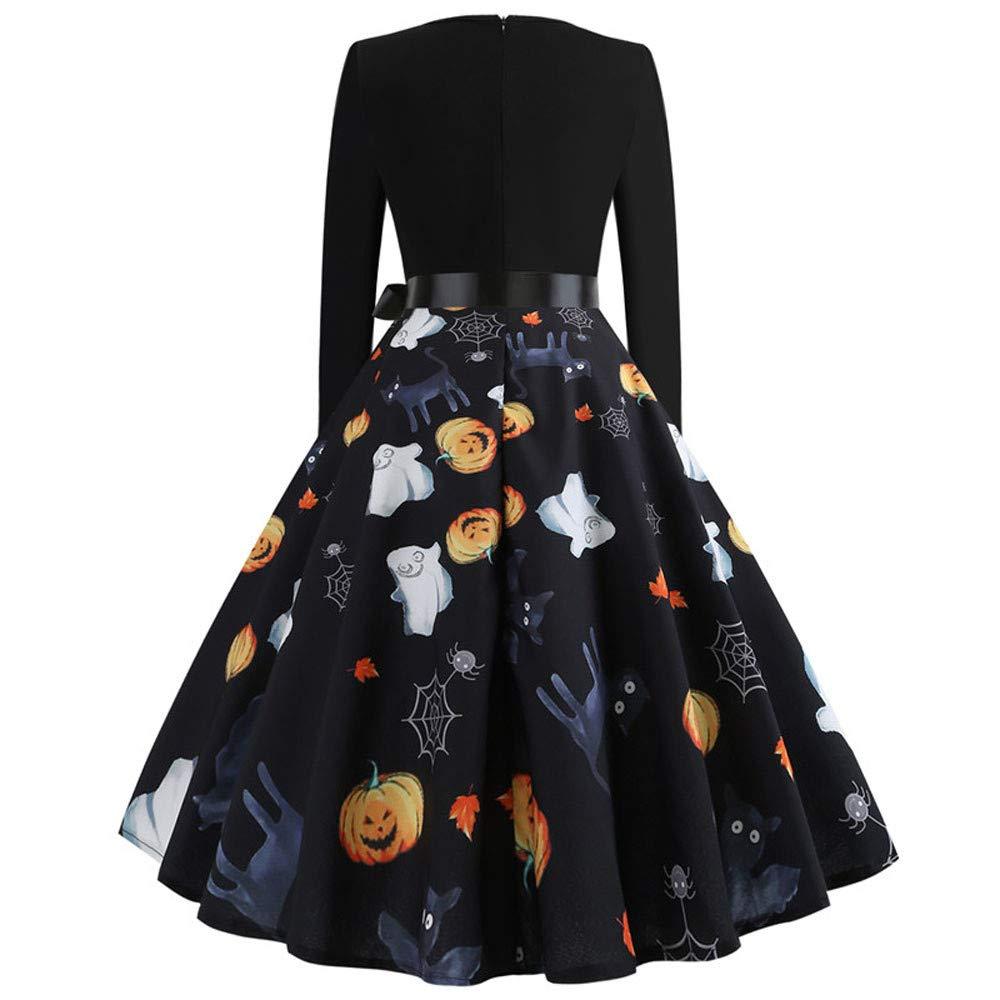 Womens Winter Warm Vintage Print Long Sleeve Ruffled Halloween Evening Party Swing Dress