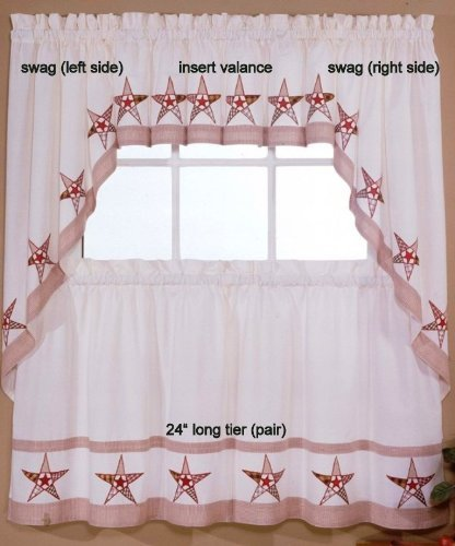 LORRAINE HOME FASHIONS Country Stars - Ecru/Red - 24'' Tier (pr) Kitchen Curtain