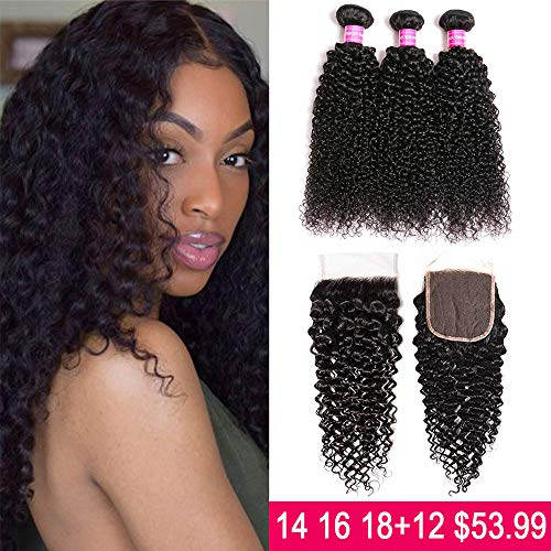 JOSUA hair Brazilian Kinky Curly Bundles with Closure (14 16 18+12) 4x4 9A 100% Unprocessed Human hair 3 Bundles with Lace Closure Free Part Natural Color (Best Curly Bundle Hair)