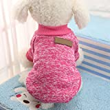Haihuic Pet Dog Winter Sweater, Puppy Cold Weather Warm Cotton Coat, for Small, Medium, Large Dog XS-2XL Size | Rose Red