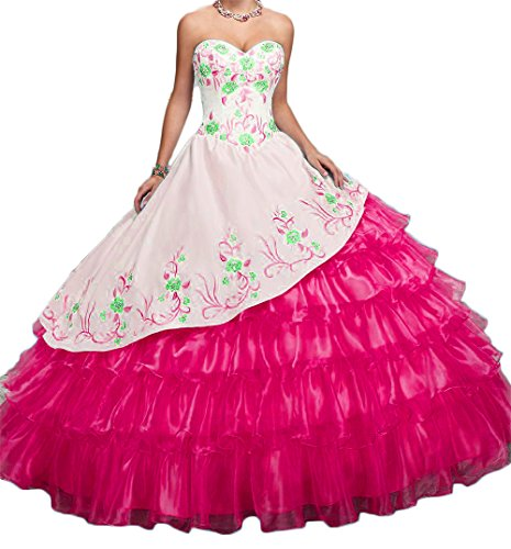 BanZhang Women's Quinceanera Dresses Long Prom Party Ball Gown Embroidery Jacket B201 Pink 10 - Embroidery Party Prom Jacket