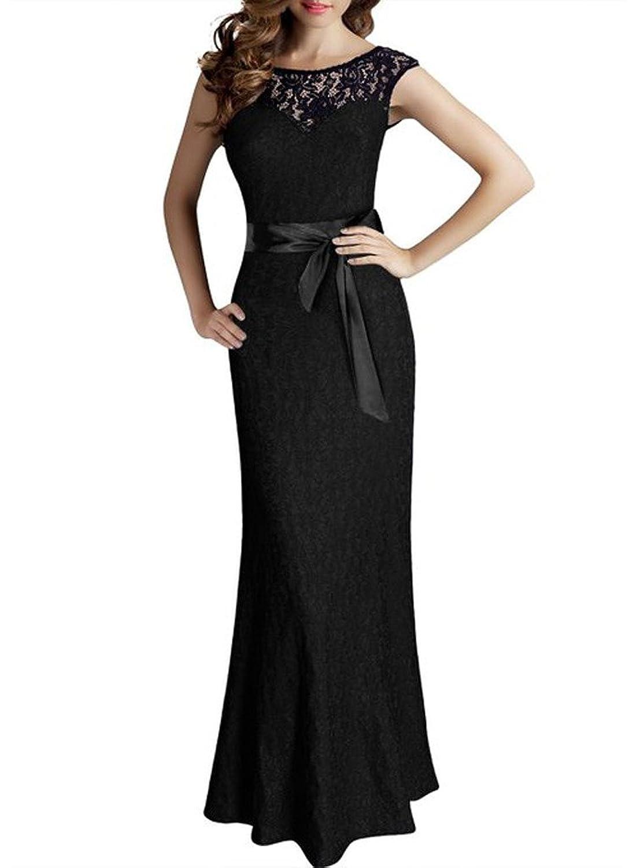 OYMMENEY Sexy Damen Kleid Lang mit Spitze Rückenfreies Sommerkleid ...