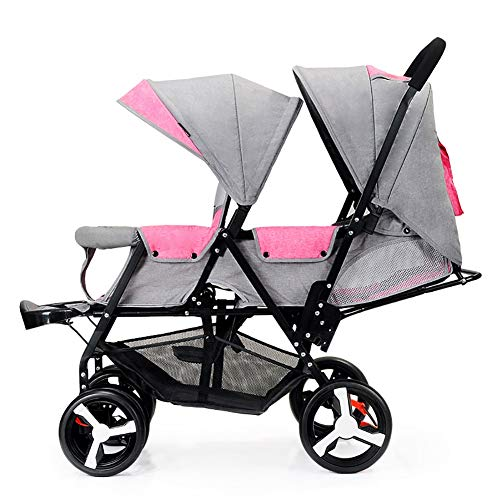 TIANTA- Double Infant Trolley, Twin Baby Stroller Lightweight Folding Double Two-Seater Baby Carriage Off-Road Version, Explosion-Proof Wheels -Travel Gear (Color : Pink+Gray)