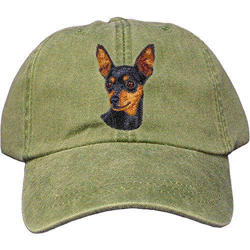 (Cherrybrook Dog Breed Embroidered Adams Cotton Twill Caps - Spruce - Miniature Pinscher)