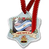 Add Your Own Custom Name, Friendship Flags USA and Argentina Christmas Ornament NEONBLOND