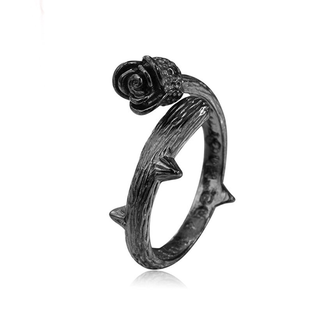 METTU Black Rose and White Rose Opening Flower Ring Valentine's Day Gift Jewelry for Womans (Black)