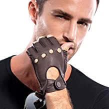 MATSU Men Fingerless Soft Deerskin Leather Driving Gloves M1076 (M, Brown)