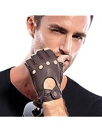 MATSU Men Fingerless Soft Deerskin Leather Driving Gloves M1076 (S, Brown)