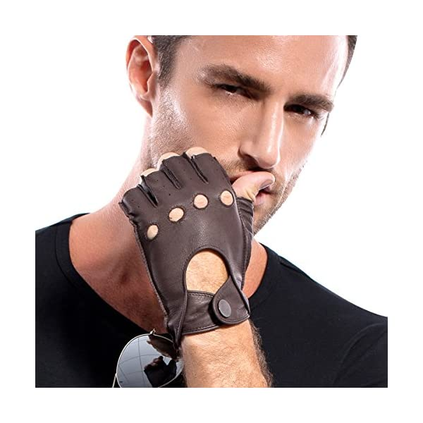 MATSU Deerskin Fingerless Leather Gloves For Men Driving,Half Finger,Unlined(Black/Brown) M1076 4
