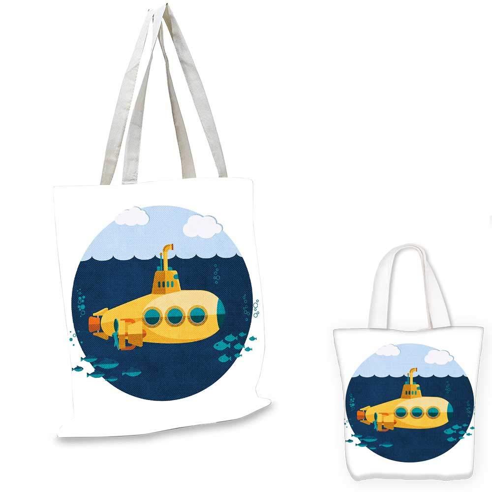 イエローサブマリンのサブマリンのイエローサブマリネイラスト 海のペーパーカットスタイル プリントブルーとマスタード。 14