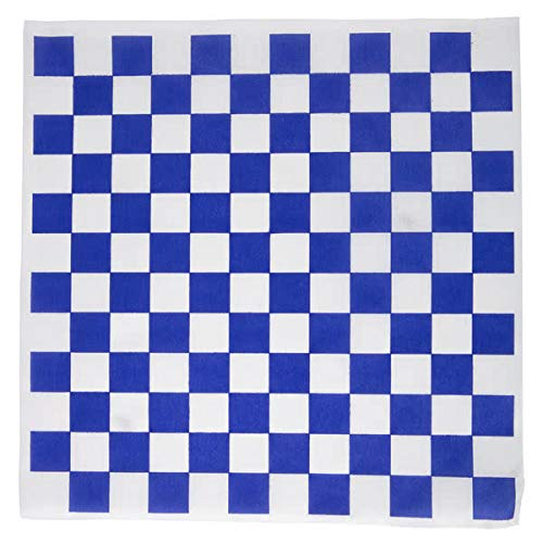 Dry Waxed Deli Paper Sheets - Paper Liners for Plasic Food Basket (100 Pack Blue Checkered) A1BakerySupplies