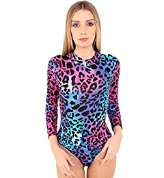 Womens Polo Turtle Neck Printed Bodysuit Ladies Long Sleeve Stretch Leotard Top