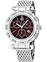 Selleria Mens Stainless Steel Swiss Chronograph Watch with Selleria Horse Logo on Back - Brown Face