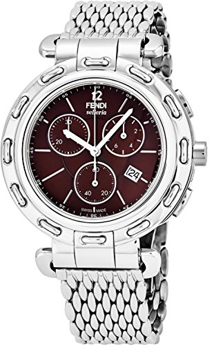 Fendi Selleria Mens Stainless Steel Swiss Chronograph Watch with Selleria Horse Logo on Back - Brown Face Analog Quartz Fashion Dress Watch For Men with Interchangeable Band - Sale Glasses Fendi