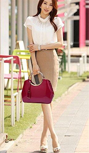 Tote Moda Donna Borse Pelle Casual Mano Elegante a a Maod Grandi Borse spalla Rosso Borsa Borsetta Tracolla Unicolor Ragazza a 46qSSw
